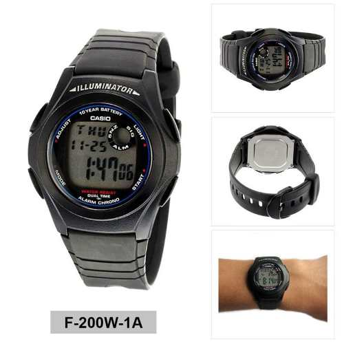 F-200W-1A Relogio Casio Digital Retro Iluminator F200  - E-Presentes