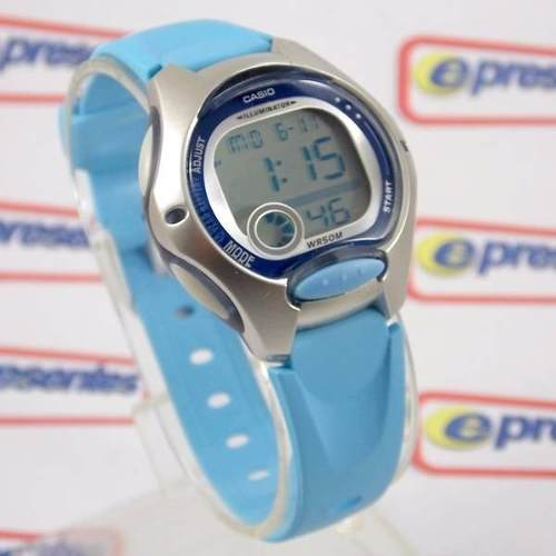 c5b28899b03 LW-200-2BV Relogio Casio Digital Feminino Pequeno Azul Claro - E-Presentes