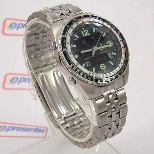 Relógio Citizen Wingman Verde 1ano Garantia Original JQ8008  - E-Presentes