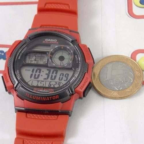 AE-1000W Relógio Casio Vermelho 5alarmes Wr100 100% Original  - E-Presentes
