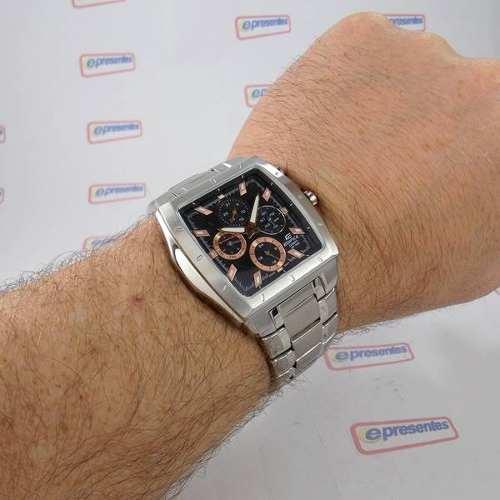 EF-329D-1A5 Relógio Casio Edifice Quadrado Aço 100% Original  - E-Presentes