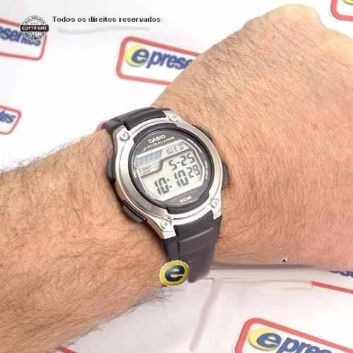 W-212H-1AV Relogio Casio Digital 5 Alarmes Wr50 Illuminator  - E-Presentes