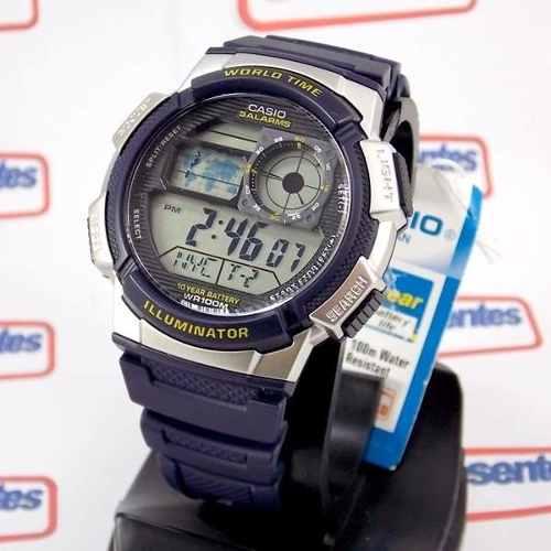 AE-1000W 2AV Relógio Casio Azul 5alarmes Wr100 Original Novo  - E-Presentes