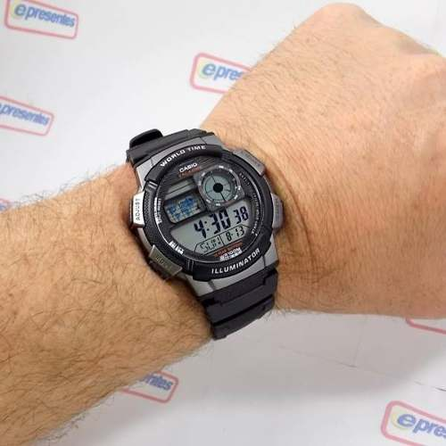 AE-1000W 1BV Relógio Casio World Time 5alarmes Wr 100 Luz  - E-Presentes