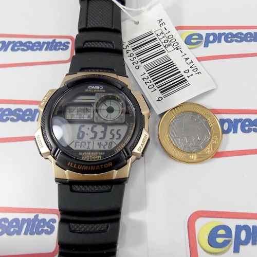 AE-1000W 1A3 Relógio Casio Digital 5alarmes Wr100 Original  - E-Presentes