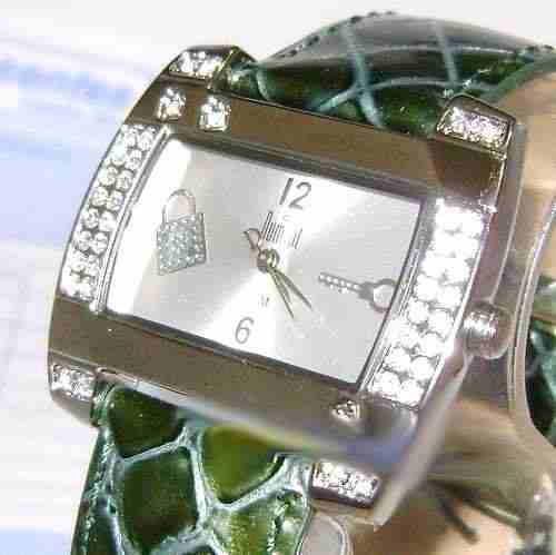 Relógio Feminino Dumont SW35544S Strass Pulseira Couro Verde  - E-Presentes
