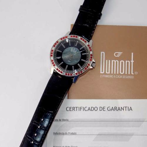 SX35196P Relógio Dumont Feminino Pulseira Couro Preto  - E-Presentes