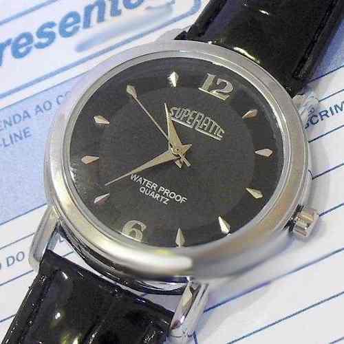 Relógio Masculino Pulseira Couro Envernizada Preto SP8491-2  - Alexandre Venturini