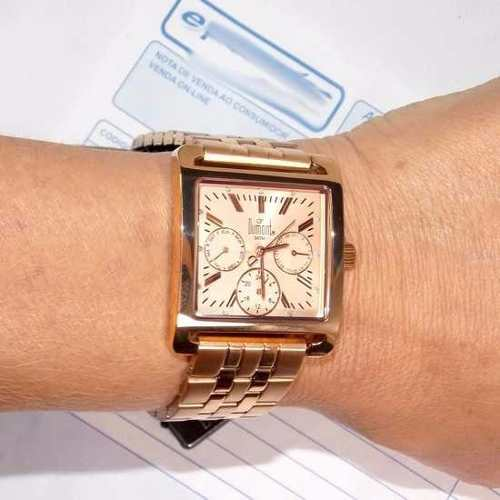 SZ89038H Relógio Feminino Dumont Ouro Rose Quadrado  - E-Presentes