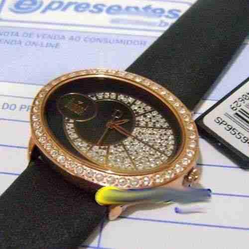 Relógio Dumont Feminino Oval SP95594P Gold Rose Strass Couro  - E-Presentes