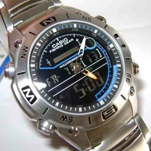 AMW-703D-1AV Relógio Casio OutGear Funções De Pesca  - E-Presentes