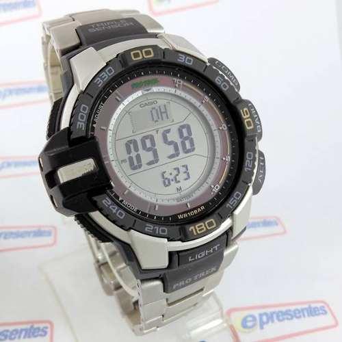 PRG-270D-7DR Casio Protrek Triplo Sensor Aço 100% Autentico  - E-Presentes