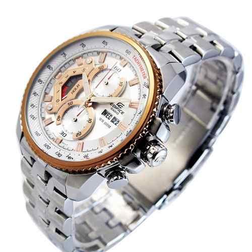 EF-558D Relógio Casio Edifice Cronograph 100m Branco Rose  - E-Presentes