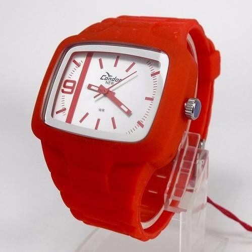 KM46467B Relógio Condor Vermelho Pulseira Poliuretano  - E-Presentes