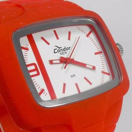 c872184a68b KM46467B Relógio Condor Vermelho Pulseira Poliuretano - E-Presentes