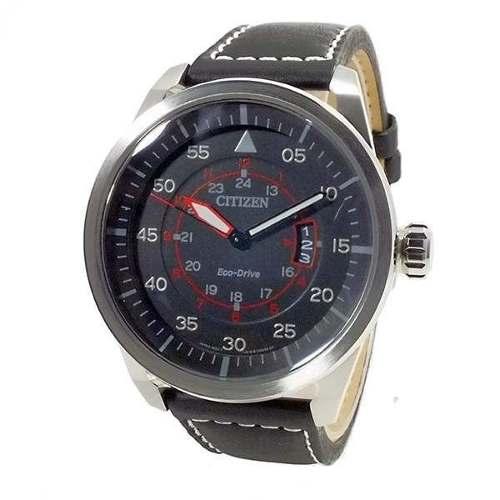 AW1360-04E Relógio Citizen Aviator Eco-drive Pulseira Couro wr100  - E-Presentes