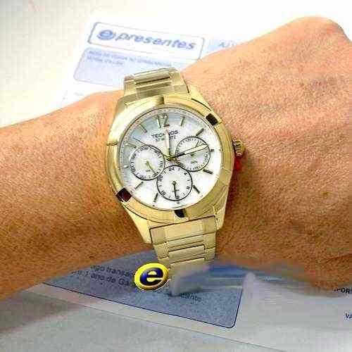 Relógio Feminino Dourado Technos Madrepérola 6P29GV Grande  - E-Presentes