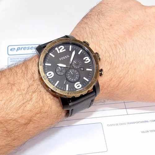 Relogio Fossil Masculino Cronografo Couro - 2 Anos Garantia!  - E-Presentes