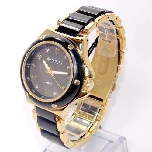 AV2290-2 Relógio Feminino Dourado E Preto Avalanche  - Alexandre Venturini