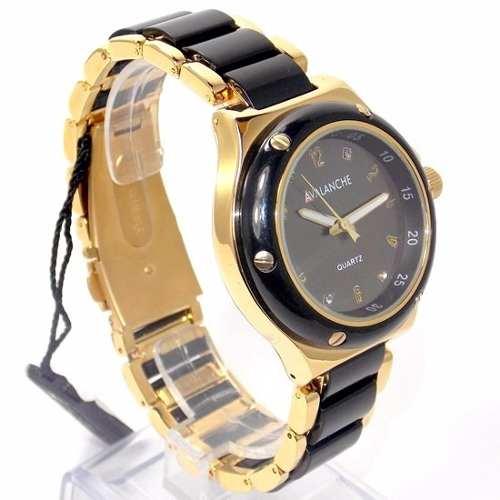 AV2290-2 Relógio Feminino Dourado E Preto Avalanche  - E-Presentes