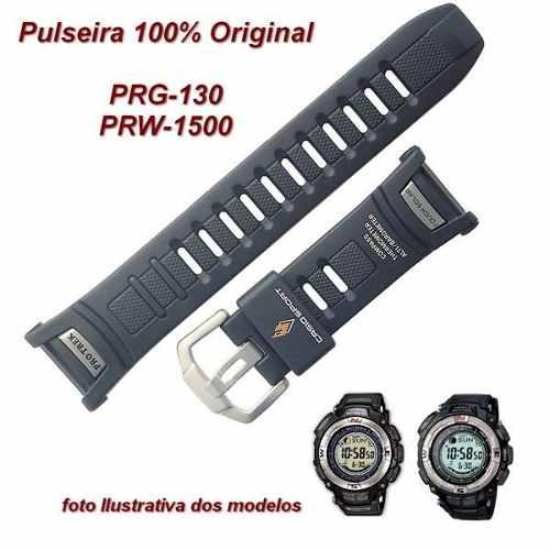Pulseira Casio Protrek Prg-130 Prw-1500 Resina Preta 100% Original *  - E-Presentes