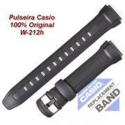 10300101- Pulseira Casio W-212h  Resina Preta (23 / 18mm) - 100% Original