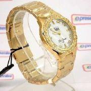 Relógio Feminino Dourado Madrepérola Cristais Dumont SW85017