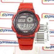 AE-1000W Relógio Casio Vermelho 5alarmes Wr100 100% Original