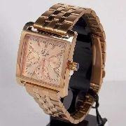 SZ89038H Relógio Feminino Dumont Ouro Rose Quadrado