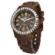 Relógio Feminino Dumont Pulseira Silicone Marrom SW43008R