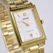 Relógio Orient Quartz Dourado Quadrado Unissex 28mm Palha Pequeno