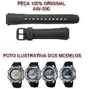 Pulseira Casio 100%original Aw-s90 Resina Preta