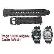 Pulseira Casio Resina Preta Aw-81 100% Original / Autêntica