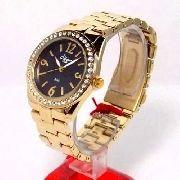 Relógio Condor Dourado Feminino Cristais Mostrador Preto