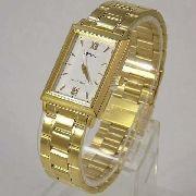 Relógio Orient Dourado Fundo Branco Quadrado FUNAX004W0