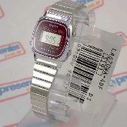 La670wa Relógio Casio Mini Prateado Vinho 100% Original