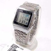 A500WA-1DF Relogio Casio Quadrado Prateado World Time 100%Original