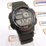 Ae-1000w Relógio Casio Verde 5alarmes Wr100 Original Novo