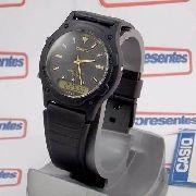 Relógio Casio Anadigi Aw-49he-1av Wr50 Pulseira Resina Preto