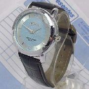 Relógio Masculino Pulseira Couro Sp8491-5 Fundo Prata Azul