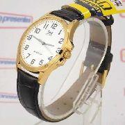 Relógio Q&Q Masculino Dourado Pulseira Couro Preto Qa06j104y