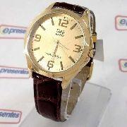 Relógio Dourado Couro Marrom C192j103y Q&Q (maq.citizen)