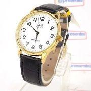 Relógio Masculino Dourado Pulseira Couro Preto C214J104Y Q&Q