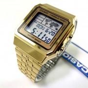 A500wga-9df Relogio Casio Digital Dourado World Time Vintage