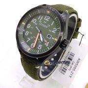 AW5005-21Y Relógio Masculino Analógico Citizen Eco-Drive Pulseira Tecido Verde