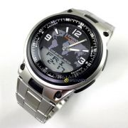 AW-80d-1a2vdf Relógio Casio AnaDigi Pulseira de Aço 3 Alarmes wr50