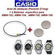 Bateria + Anel de Vedação Casio AW-702, AMW-703, AMW-704, AMW705, AMW 706