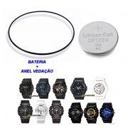 Bateria + Anel de Vedação Traseiro Casio G-Shock GA-100, GA-110, GA-120, GA-201, GA-150
