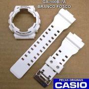 Bezel + Pulseira Casio G-shock Branco Fosco Ga-100B-7A  Ga-110