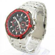 Ef-540d-1a4 Relogio Edifice Casio Watch Aço inox,. fundo vermelho